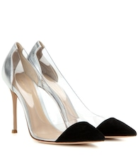 Plexi suede and metallic leather pumps
