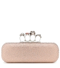 Four-ring embellished suede clutch
