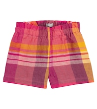 Checked linen shorts