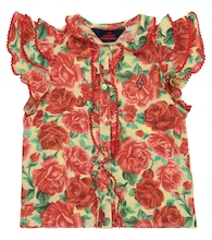 Parakeet floral cotton blouse