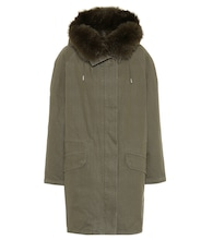 Fur-trimmed cotton parka coat