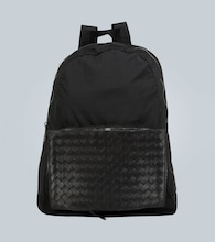Backpack with intrecciato panel