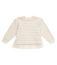 Tulle-trimmed striped sweater