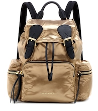 The Medium leather-trimmed backpack