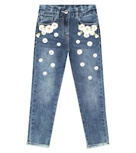 Embroidered stretch-cotton jeans