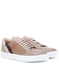Salmond leather and fabric sneakers
