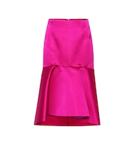 High-rise silk satin godet skirt