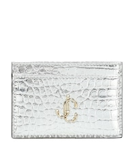 Umika snake-effect leather card case
