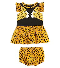 Baby cheetah-print cotton dress and bloomers set
