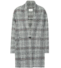 Eabrie checked wool-blend coat