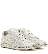 Glittered-leather sneakers