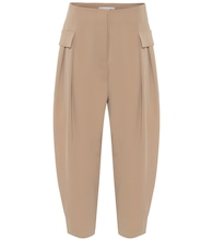 Stretch-wool high-rise pants