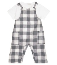 Baby checked overalls and T-shirt set