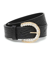 Embellished croc-effect leather belt