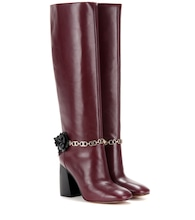 Blossom embellished leather knee-high boots