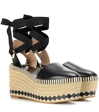 Dandy 85mm leather wedge espadrilles