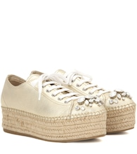 Embellished leather espadrille sneakers