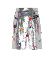 Embellished sequinned skirt