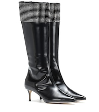 Embellished leather knee-high boots