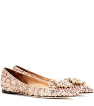 Crystal-embellished sequinned ballerinas