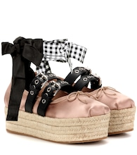 Satin and leather platform ballerinas