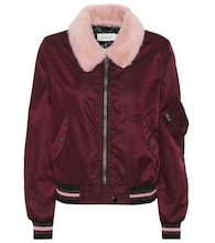 Lamb fur collar bomber jacket