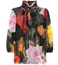 Floral-printed silk blouse