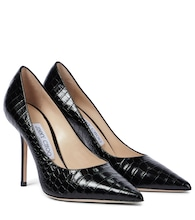 Love 100 croc-effect leather pumps