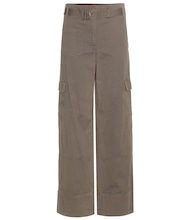 Wide-leg cotton and linen cargo trousers