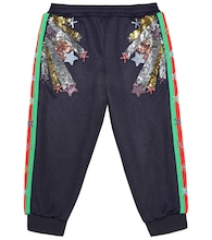 Embellished cotton-blend trackpants