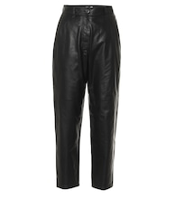 High-rise cropped leather pants
