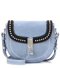 Ghianda Saddle Mini suede shoulder bag