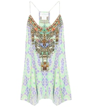 Embellished printed silk top