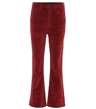 High-Rise W5 Empire Cropped Flared Hose aus Samt