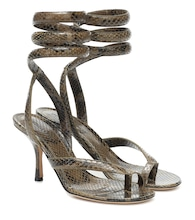 BV Spiral snake-effect leather sandals