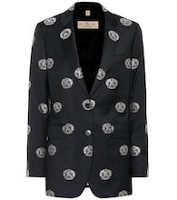 Embroidered wool twill blazer