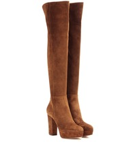Temple suede over-the-knee platform boots