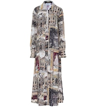 Printed linen-blend maxi dress