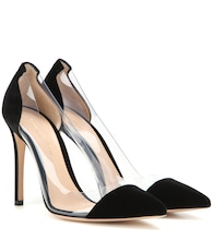 Plexi velvet and transparent pumps