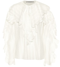 Ruffle-trimmed cotton-blend blouse