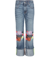Wide-leg jeans with floral appliqué