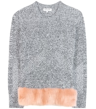 Faux fur-trimmed sweater