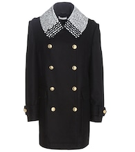 Charles wool-blend coat with embellished collar