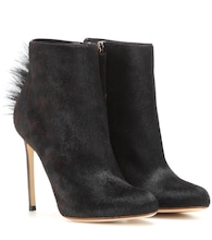 Calf hair ankle boots