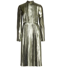Metallic silk-blend pleated dress
