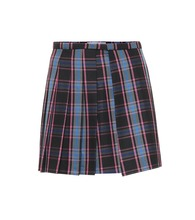 Checked wool-blend miniskirt