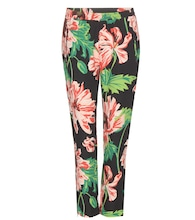 Floral printed cropped crêpe trousers