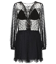 Oleander Lattice embroidered silk playsuit