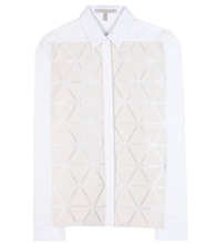 Triangle-appliquéd silk and wool-blend crêpe shirt