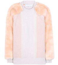 Virgin wool sweater with faux fur